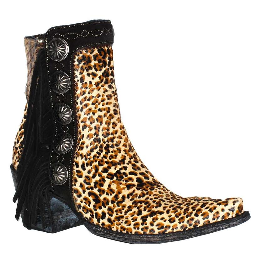 Double D Ranch Womens Skat Kat Leopard Concho Fringe Shortie Boot