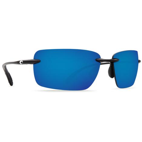 COSTA Gulf Shore Shiny Black Blue Mirror Sunglasses