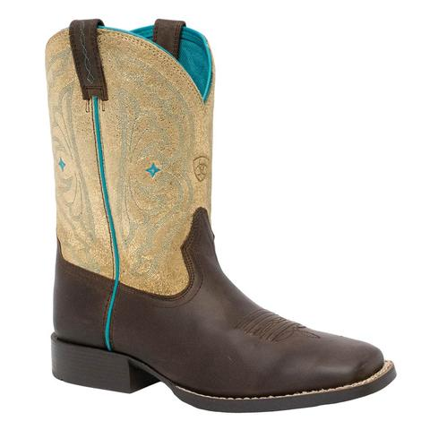 Ariat Quickdraw Distressed Brown Metallic Gold Youth and Kid Boot