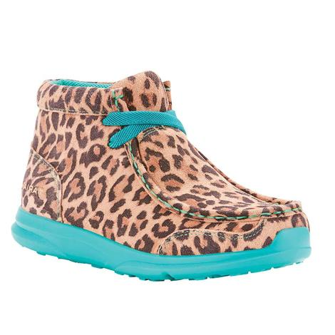 Ariat Spitfire Little Leopard Turquoise Kids and Youth Slip On Shoe