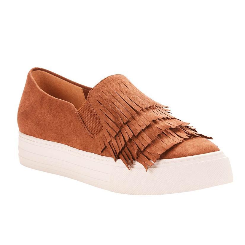 Ariat Womens Unbridled Bliss Cognac Suede Fringe Slip On Shoes
