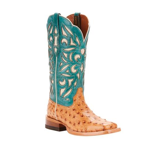 Ariat Womens Carmencita Full Ostrich Topaz Turquoise Boots