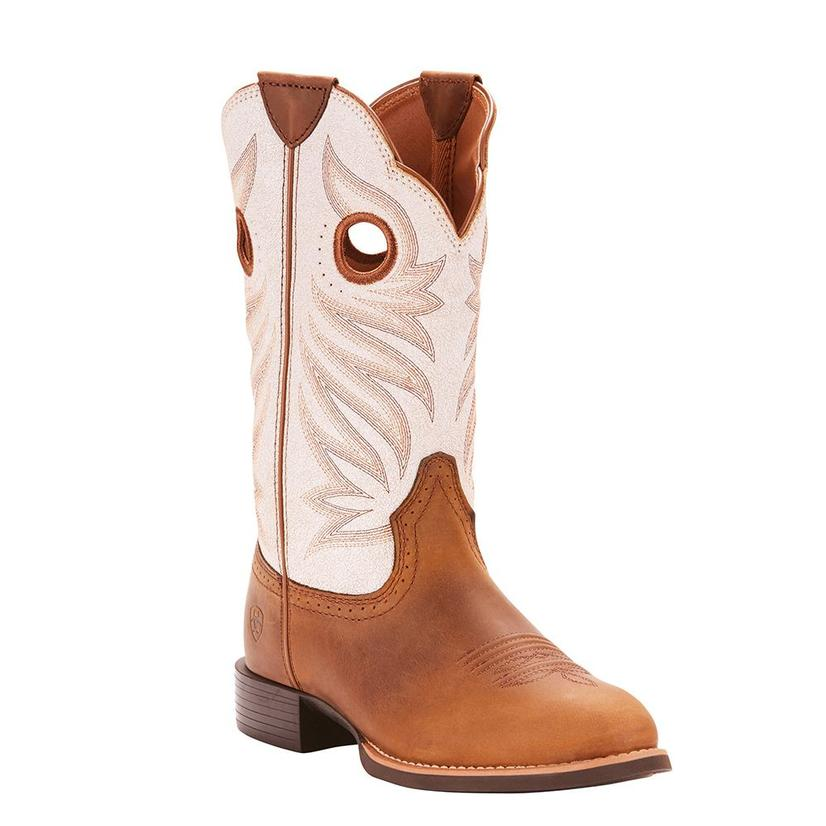 Ariat Womens Round Up Stockmen Crushed Peanut Round Toe Boots