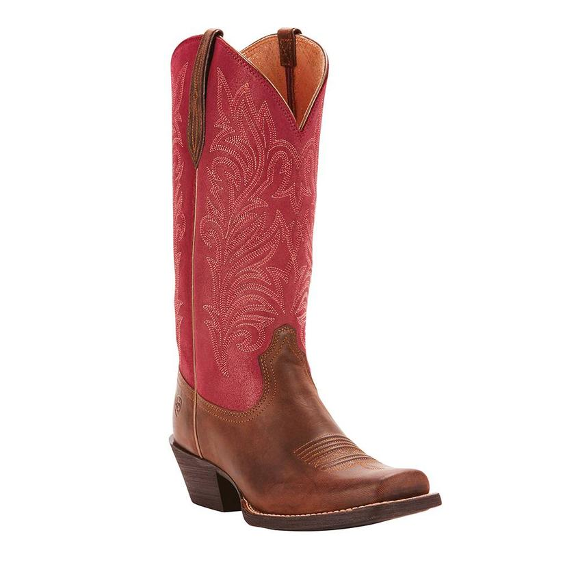 Ariat Womens Round Up Stockyards Barnwood Raspberry Boot