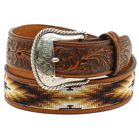 Nocona Mens Brown and Tan Leather and Bead Belt