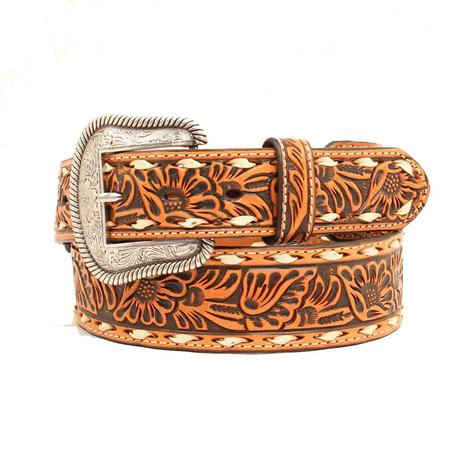 Nocona Mens Floral Tooled Leather with Buckstitch Belt
