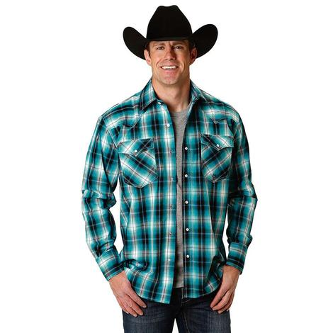 Roper Navy Teal Double Pocket Long Sleeve Snap Men's Shirt