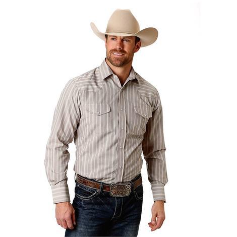 Roper Grey Stripe Double Pocket long Sleeve Men's Snap Shirt