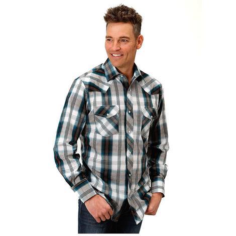 Roper Grey Blue Plaid Double Pocket Long Sleeve Snap Men's Shirt