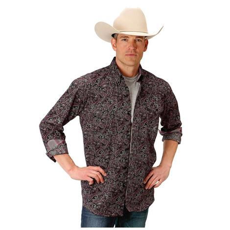 Roper Mens Maroon Black Paisley Print Long Sleeve Shirt