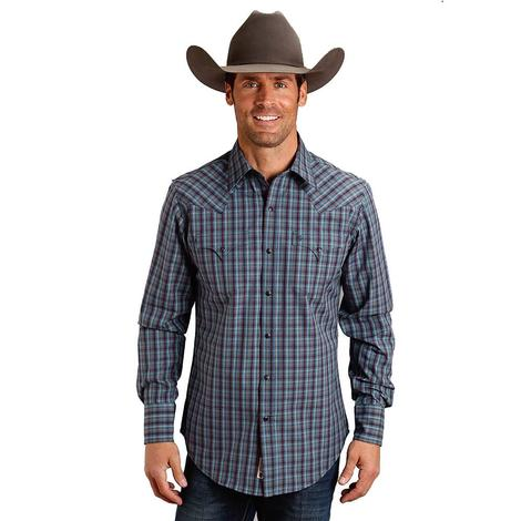 Roper Maroon Navy Plaid Double Pocket Long Sleeve Men's Shirt