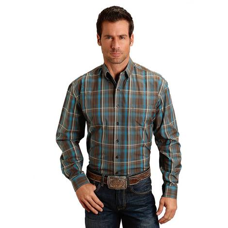 Roper Chocolate Brown Blue Plaid Long Sleeve Button Down Men's Shirt