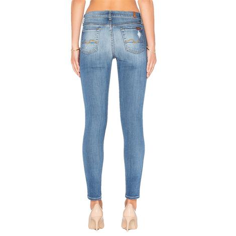 7 For All Mankind Womens The Skinny with Squiggle Stretch Blue Orchid Jean