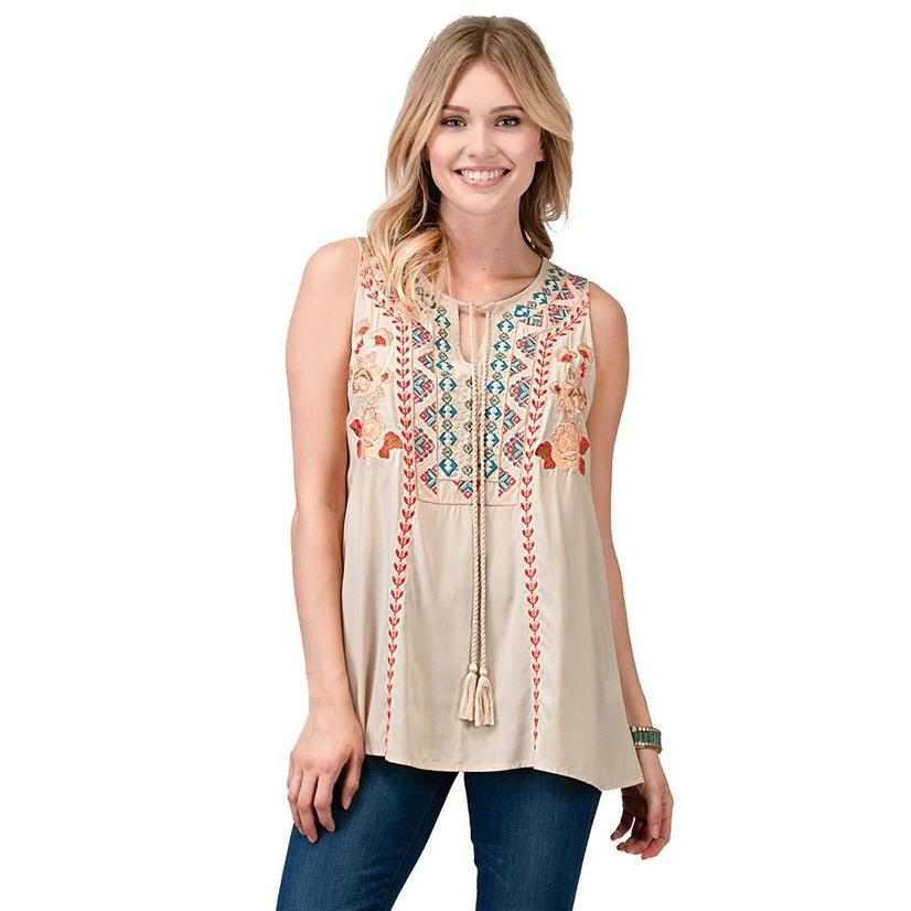 Womens Sleeveless Embroidered Ivory Plus Size Top
