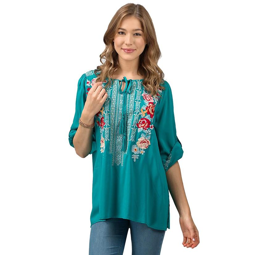 Jade Floral Embroidered Three Quarter Sleeve Plus Size Top