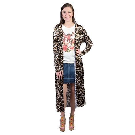 Womens Plus Size Leopard Velvet Kimono