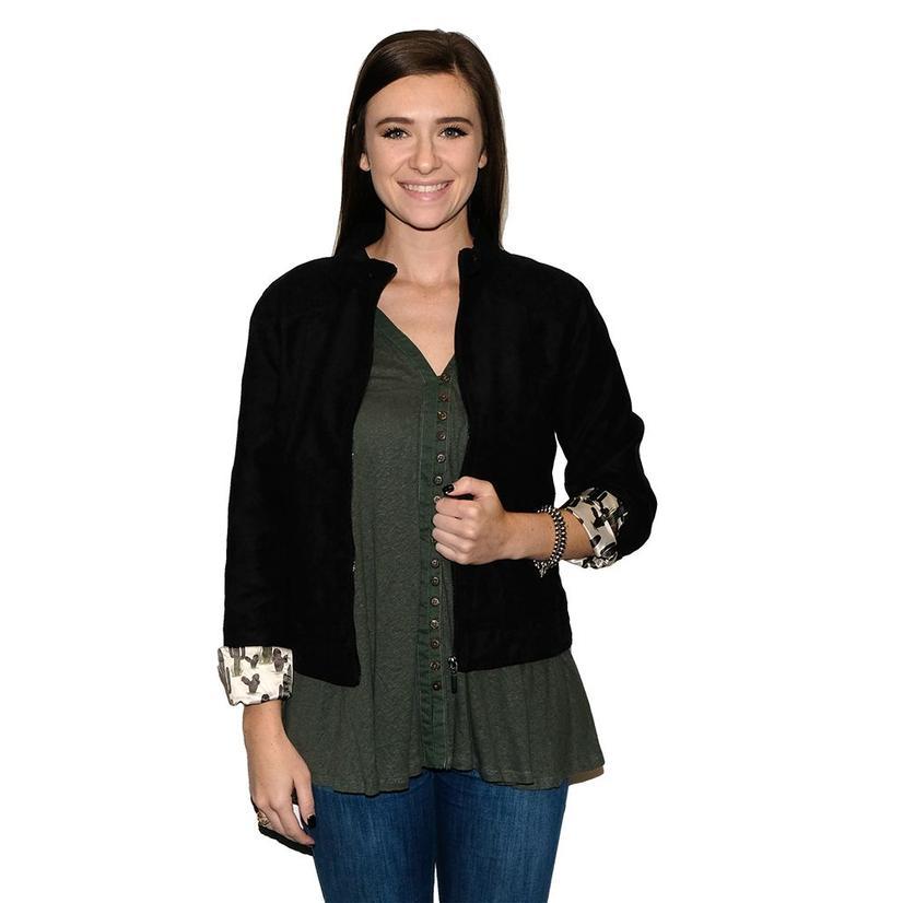 Cruel Girl Black Moto Jacket With Cactus Lining