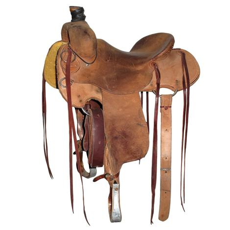 Teskey's Stripdown 15in Roughout Ranch Roper Used Saddle