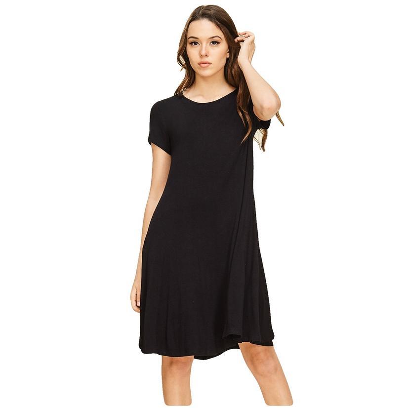 Short Sleeve Pocketed Midi Dress BLACK