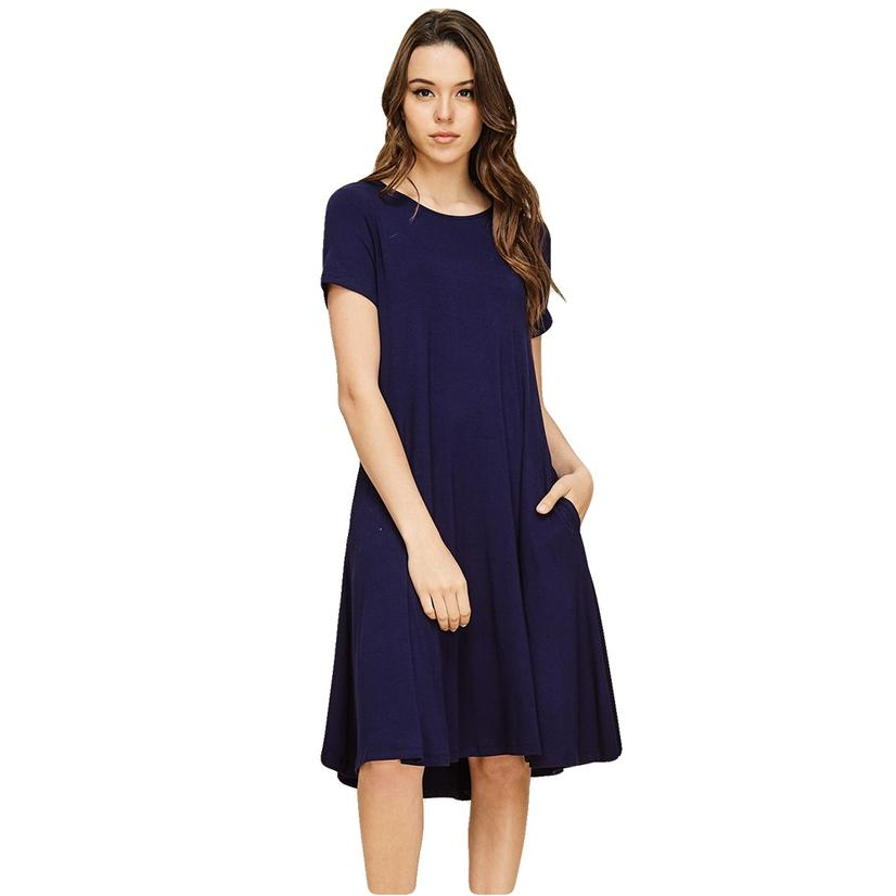 Short Sleeve Pocketed Midi Dress ROYALBLUE