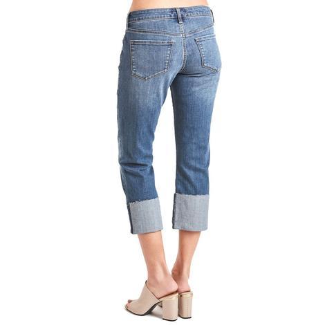 Dear John Womens Playback Cuffed Penny Blossom Crop Cuff Jeans