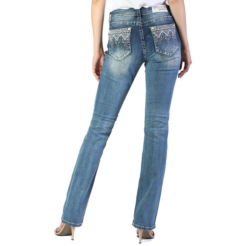 Grace In La Womens Easy Boot Light Wash Embroidery Pockets Jeans