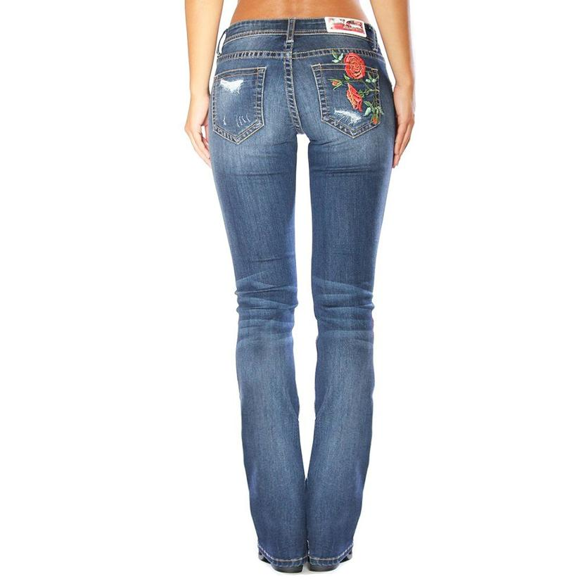 Grace In La Womens Boot Cut Rose Embroidered Distressed Jeans