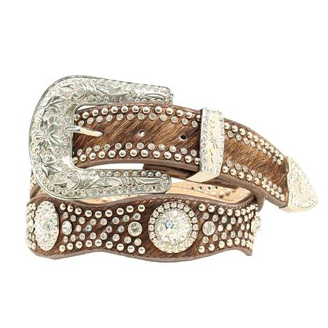 Womens Scalloped Tan Cowhide Blinged Belt