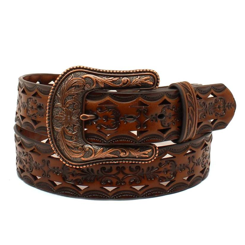 Womens Copper And Dark Leather Tooled Belt