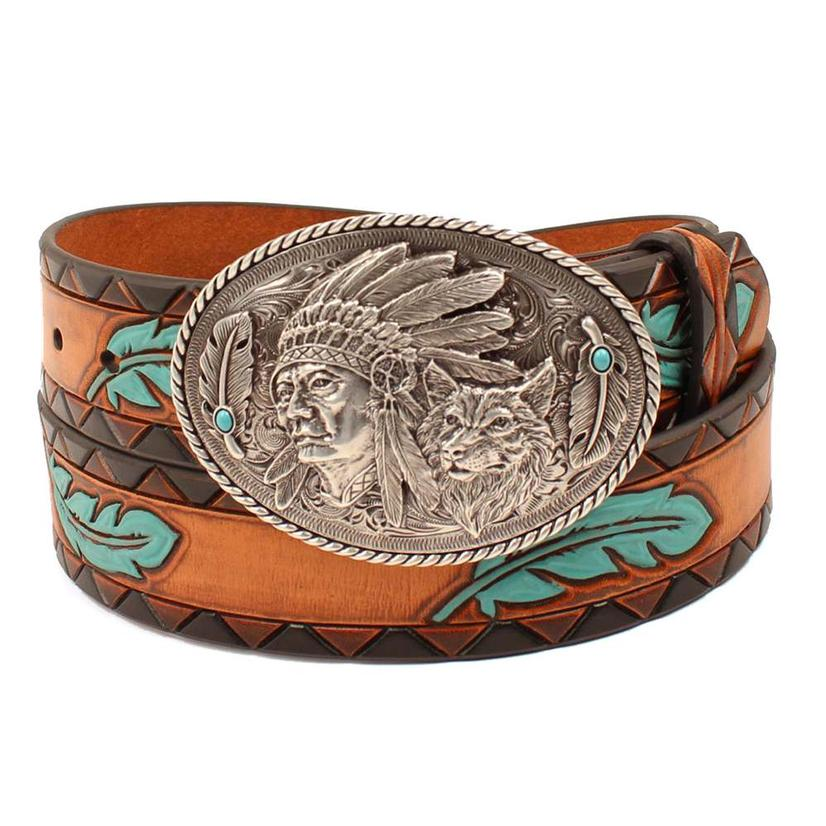 Womens Turquoise Feather On Tan Tooled Belt