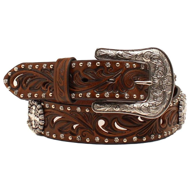 Dark Brown Laser Cut With Concho Womens Belt