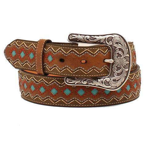Womens Diamond Stitch with Turquoise Accents on Brown Belt