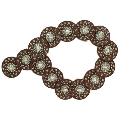 Womens Leather Bling and Concho Embellished Belt
