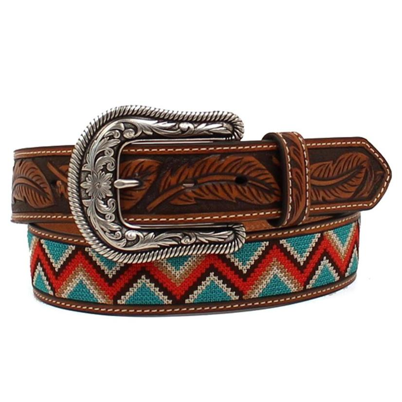 Womens Leather And Embroidered Zigzag Stitch Beaded Belt