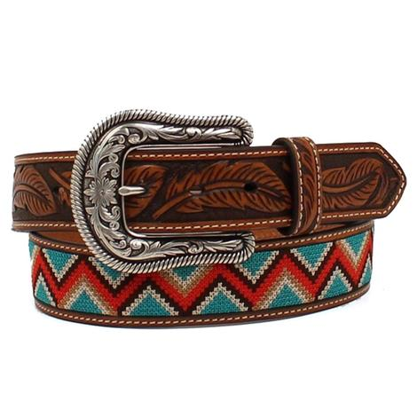 e5d9800f64a Womens Leather and Embroidered Zigzag Stitch Beaded Belt