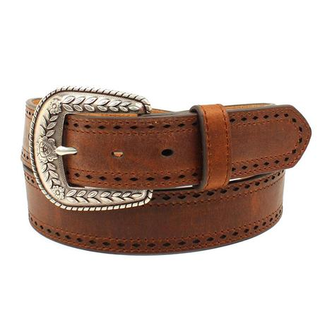 Womens Brown Leather with Silver Buckle Belt