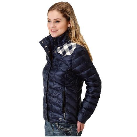 Roper Lightweight Crushable Navy Gingham Women's Jacket