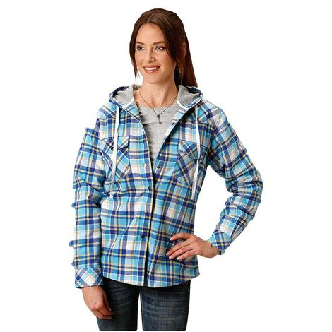 Roper Flannel Thermal Lined Women's Jacket in Teal Navy Plaid