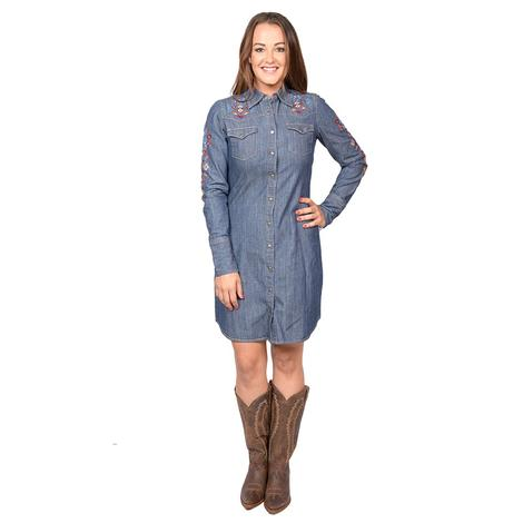 Stetson Womens Denim Embroidered Snap Dress