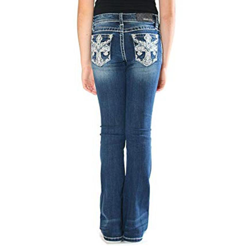 Grace In La Girls Cross Bling Pocket Dark Wash Boot Cut Jeans
