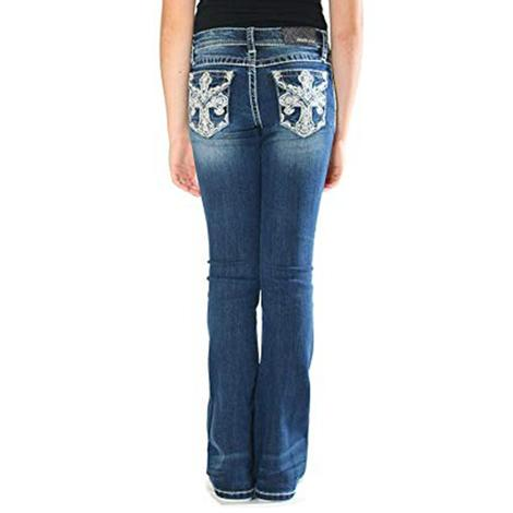 Grace In LA Girls Cross Bling Pocket Dark Wash Boot Cut Jeans