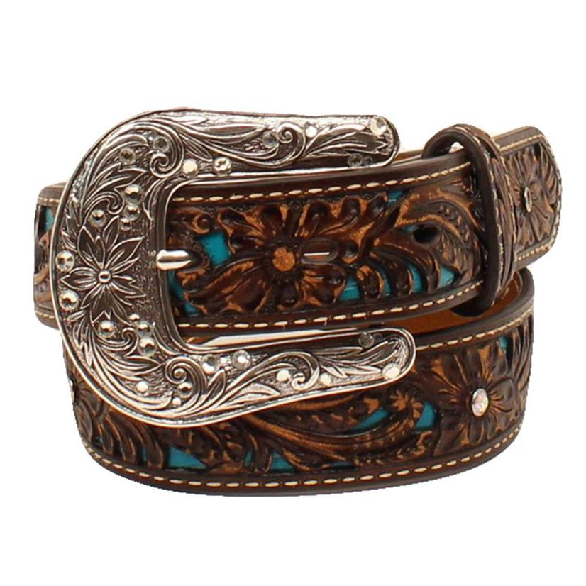 Dark Brown Leather Kids Belt With Turquoise Inset And Silver Buckle