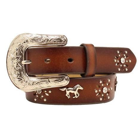 Brown Leather Kids Belt with Horse Bling and Silver Buckle