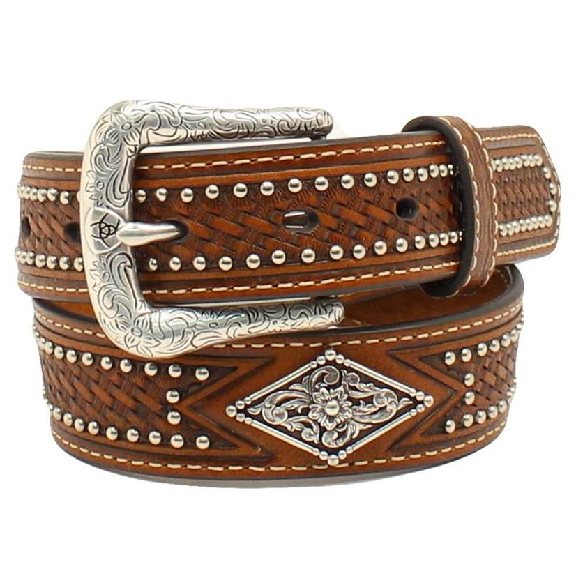 Kids Brown Leather Basketweave Belt With Silver Studs And Diamond Accent