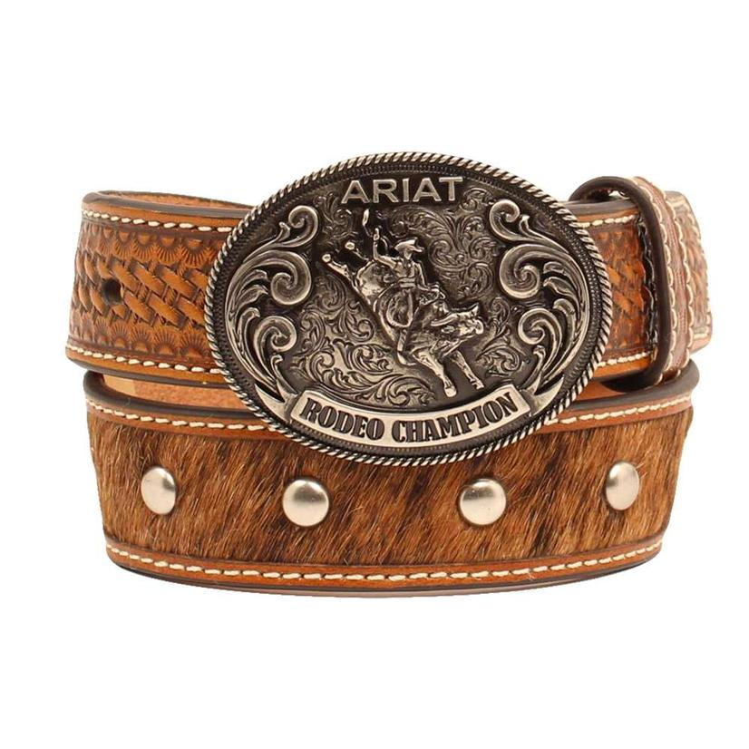 Brown Tan Hair On Hide Kids Belt With Silver Stud Accent