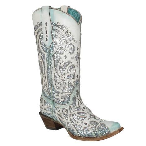 Corral Womens Turquoise Chameleon Glitter Boot