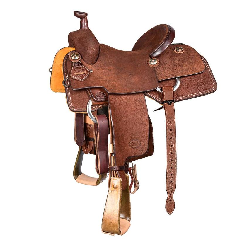 Stt Team Roping Full Roughout Chocolate Heavy Oil Saddle