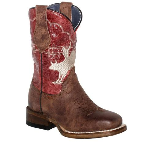 Roper Bull Rider Red Top Kid and Youth Boot - Kid Sizes 9-13 Youth 1-3