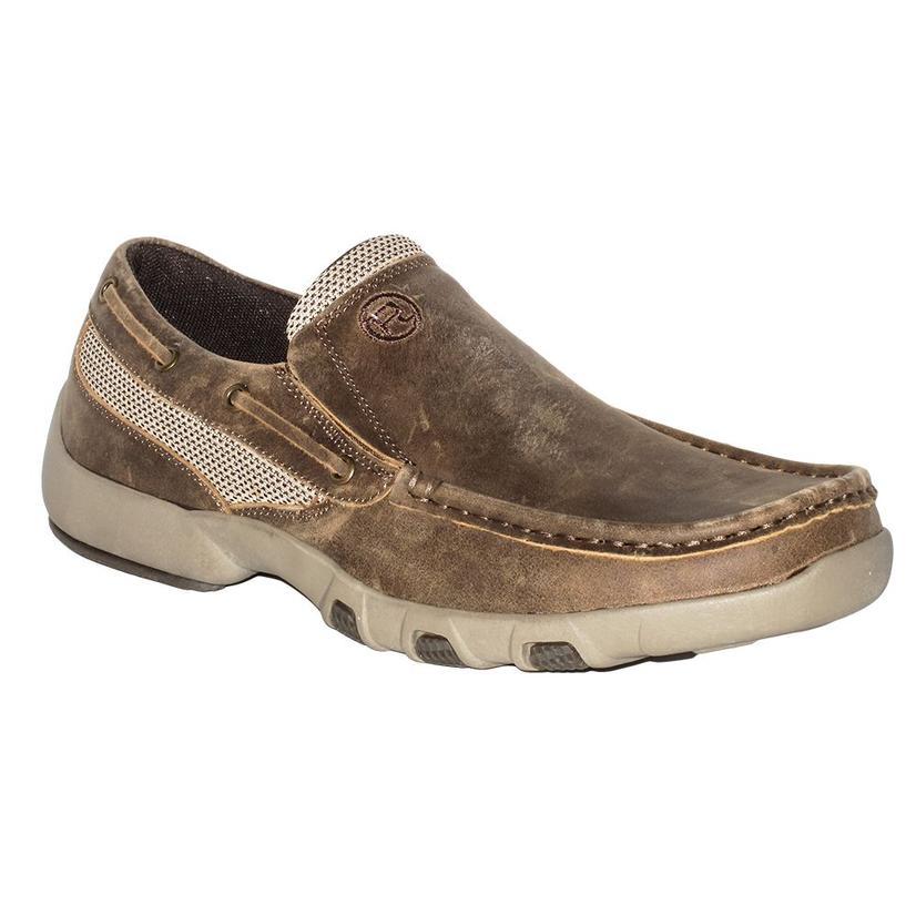 Roper Mens Docs Vintage Leather Slip On Moc