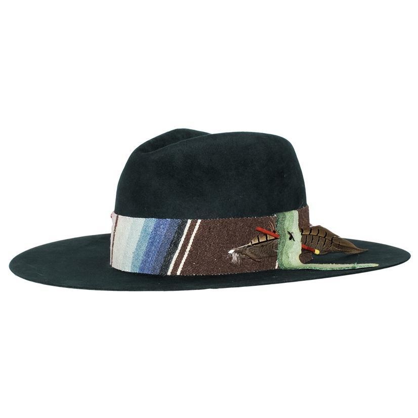 Greeley Hat Works Petrol Totem 970 Black Felt Serape Band Hat